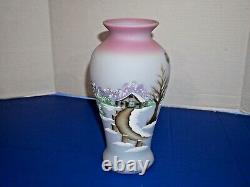 Fenton Bleu Birman 4 Saisons Hiver Vase Peint À La Main Chemin Rustique Pays Barn
