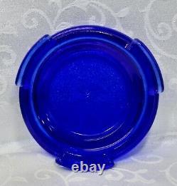Fenton, Boîte À Bonbons Avec Base, Topaz Opalescent & Cobalt Blue Glass, Limited Ed