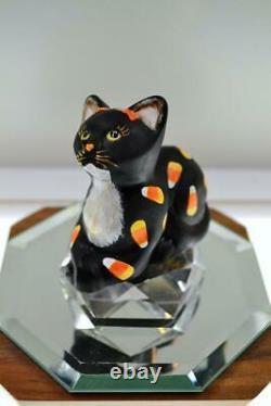 Fenton Cat Perky Black Satin Par Vicki Candy Corn Curren 2020 Ooak Freeusashp