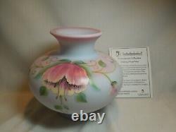 Fenton Connoisseur Collection 2011 Vase Floral À La Dérive Sur Birman Bleu