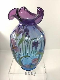 Fenton, Connoisseur Collection Iris Garden Mulberry Vase, 1578 Mp, #302/1750