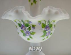 Fenton Epergne Silver Crest Satin Avec HP Purple Violets Ooak Freeusaship