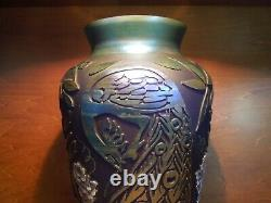 Fenton Favrene Sandcarved Peacock And Handpainted Wisteria Vase, Only 50 Made