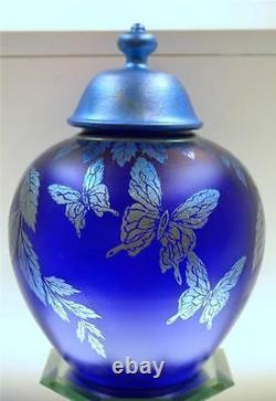 Fenton Ginger Jar Wcustom Pntd LID Favrene Papillons Fagca Exclusive Freeusash
