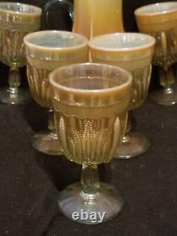Fenton Glass Aqua Cactus Water Set Pichet Opalescent Et 6 Gobelets