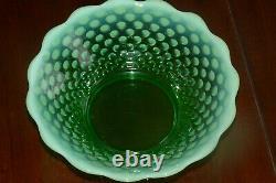 Fenton Green Opalescent Hobnail Punch Bowl Base 12 Tasses Avec Les Détenteurs Glows