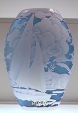 Fenton Kelsey Murphy Sand Vase Sculpté Sail Away 88022l #d 6/150