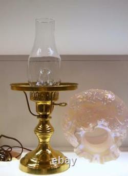 Fenton Lamp Champagne Étudiant Wild Rose Et Bowknot 15,5 Pouces De Hauteur