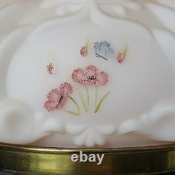 Fenton Lampe Birmane Rose Peinte À La Main Fleurs De Pavot Rose & Papillon Signé #364