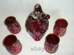 Fenton Limited Ed Founder's 5 Pc Water Set Red Carnival Glass Pitcher & Tumblers