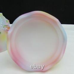 Fenton Opal Satin Gs Tie Dye Hand Painted Atlantis 2 Pc Fairy Light Le C929