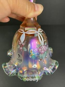 Fenton Pink/peach Iridescent Floral Glass Panneau De Cloche Kathy Mackey Ltd