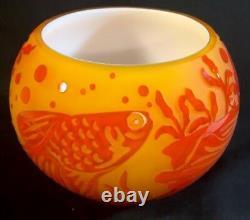 Fenton Sand Sculpté Persimmon Fish Bowl Limited À 95 Partie De La Collection Cameo