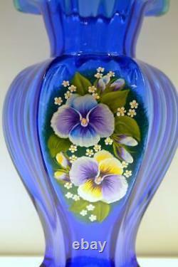 Fenton Vase Hex Cobalt W Green Crest Pansies Ooak Vicki Curren Liberté