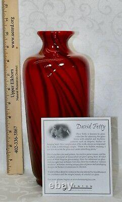 Fenton, Vase, Ruby Glass With Black Threads, Dave Fetty, Édition Limitée