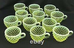 Fenton Vaseline Uranium Glass Grand Hobnail Topaz Punch Bowl, 12 Tasses, Louche