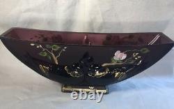 Fenton Verlys Birds Vase Cerise Peinte À La Main Blossoms Sur Aubergine Limited
