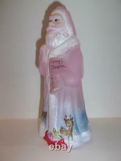 Fenton Verre Rose Toit Rennes Noël Santa Claus Deer Ltd Ed #4/24 Kibbe
