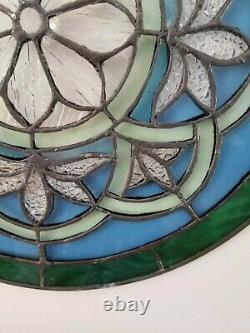 I4 Ronde Art Glass Window Panel Fleurs Florales Vertes Et Bleues