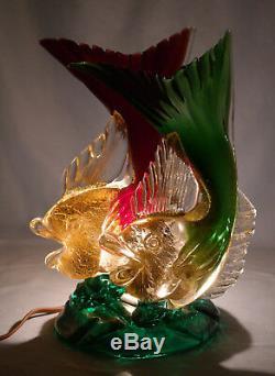 Italienne Murano Seguso Vetri D'arte Ruby Et Verre Vert Double Poisson Figure Lampe