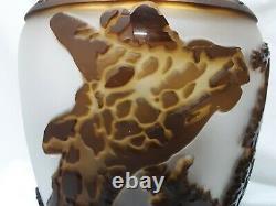 Kelsey Murphy Pilgrim Cameo Glass Sunset Giraffe 12 Vase Ltd Ed Signé/désigné