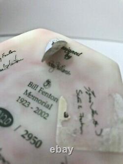 Limité Bill Fenton Birman Memorial Diamond Optic Vase Étiquette Signée Par Toutes Les Familles