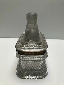 Magnifique Baccarat Moulé Et Givré Sphinx Encased Bronze Box