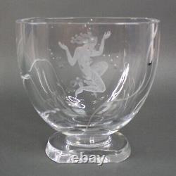 Magnifique Lars Kjellander Swedish Art Deco Sirmaid Etched Crystal Vase En Verre D'art