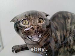 Mike Hinton Céramique Grand Sifflement Tabby Cat Edition Limitée, Yeux En Verre 33cm