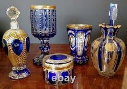 Moser 1900's Cotton Pad-trinket Lidded Dish Cobalt Blue & Gold Paneled Art Glass