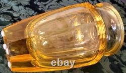 Moser 1930's 8 Paneled Blown Shaped Polished Citirne Crystal Thick Heavy Vase