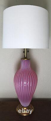 Murano Archimede Seguso Venetian Raspberry Lampe De Table Opalescente Marbro Wow
