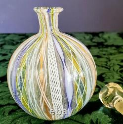 Murano Salviati Artisti Barovier Vénitien Feuille D'argent Ruban Art Vase En Verre Rare