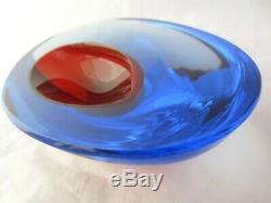 Murano Seguso Cenedese Bol Géode De Verre D'art Moderne Sommerso Space Age Rouge Bleu