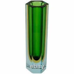 Murano Vaseline Diamant Facettes Mandruzatto Studio Vase Début Des Années 60 Rare