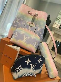 Nouveau 2020 Auth Louis Vuitton Soleil Sac Escale Lunettes Case Ltd Tie Die Wallet Pouch