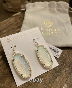Nwt Kendra Scott Dichroic Foil Gold Elle Boucles D'oreilles- Texas Limited Edition