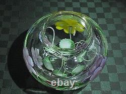 Orient & Flume, Signé Ed Alexander, Crystal Cased Pansy Bouquet Vase Ltd Ed Nib