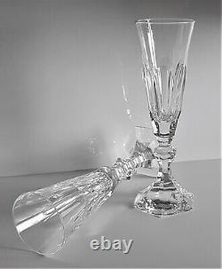 Paire Wonderful Baccarat Harcourt Crystal Champagne Flute Glass, Nouveau, Pas De Timbre