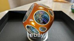 Perthshire Paperweight 1981h Amber Double Overlay Closepack Millefiori Le Ce