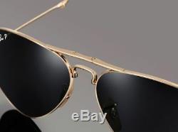 Polarized Ray-ban Aviator Pliant 22kt Gold P3 Plus Lunettes De Soleil Rb 3479kq 001 / N5