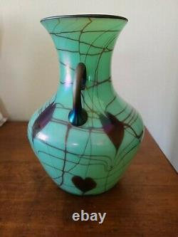Rare 1925 Fenton Cœurs Suspendus 9 Vase Irritant Vert Antique Hors Ligne Main