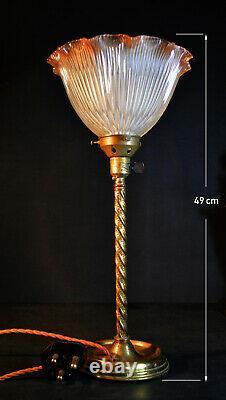 Rare Edwardian C-1910 Barley Twist Lampe D'édition Limitée Teintée Holophane Nuance