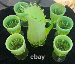 Rare Fenton Cactus Topaz Opalescent Vaseline Glass Pitcher & Six Goblets Limited