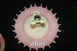 Rare Fenton Epergne Art Glass 4 Horn Pink White 100th Limited Edition 5 Pièce