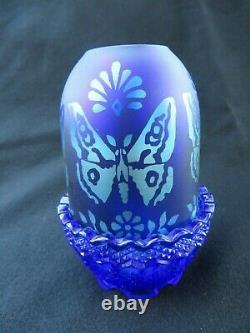 Rare Fenton Verre Favrene & Blue Lampe Fée Papillon Limited Edition Signée