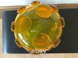 Rare Jaune Blenko Signé Blob Vase #597- Bol De Rose Taillé Wayne Husted 1959