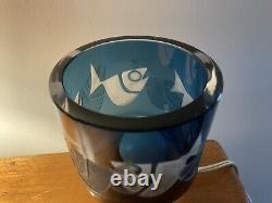 Rare Kosta Boda Ove Sandeberg Blue Glass Fish Lamp Suède MID Century Modern MCM