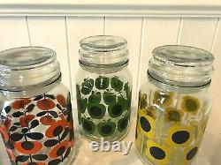 Rare Rétro Orla Kiely 3 Édition Limitée Glass Douwe Egberts Bocal De Stockage De Café