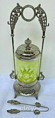 Rare Stunning Fenton Daisy & Fern Pickle Castor Vaseline Verre Opalescent